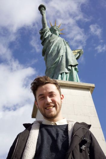 Ed with the original Statue of Liberty